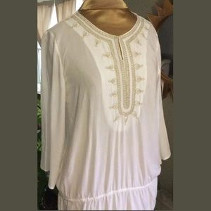 Classic 3/4 sleeve smocked, peasant tunic top
